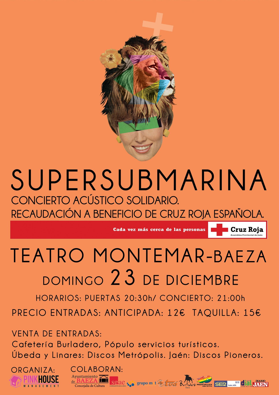 Cartel del Concierto Solidario de Supersubmarina en Baeza