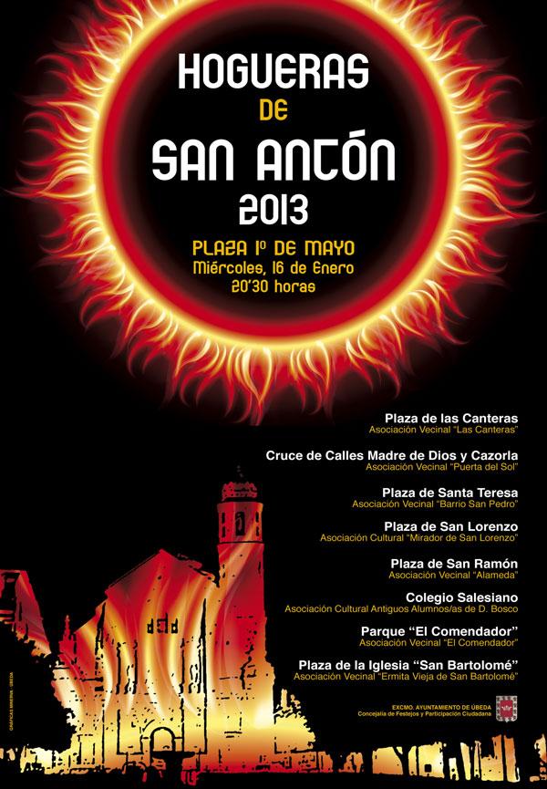 Cartel de Las Hogueras de San Antón en Úbeda 2013